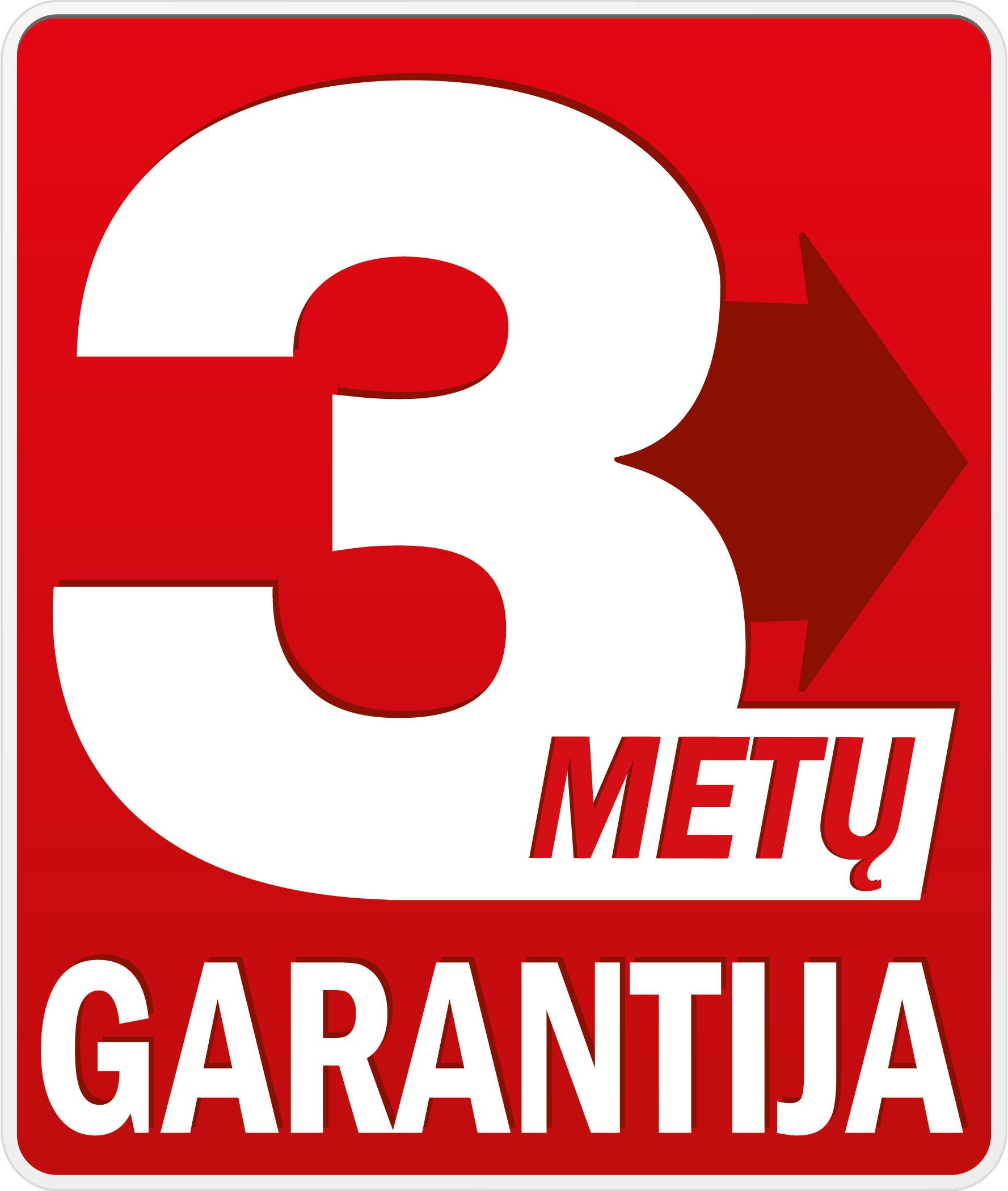 3 metų garantija